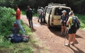 Transfer drivers take hikers and their gear in minibsusses to the Kilimanjaro National Park gates from where they start their hike up Kili