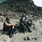 Taking a break hiking Kilimanjaro
