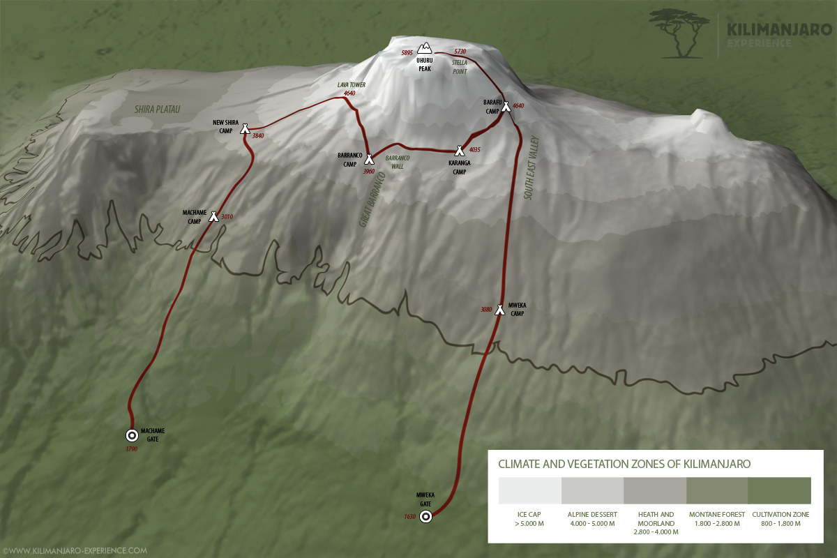 Machame route up Kilimanjaro