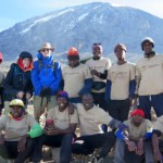 Guests and crew on Mt Kilimanjaro